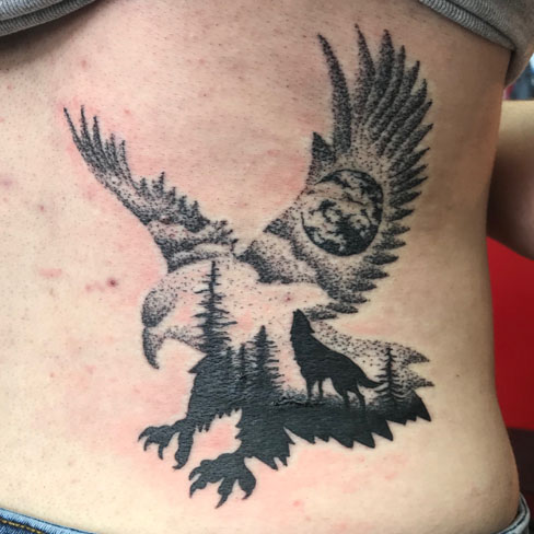 Tattoo, Best Tattoo, Colchester, Essex, Tattoo art, Tattoo Artist, Tattoos, Tattoo design, Top Tattoo, Black & grey Tattoo, reds tattoo, sonya trusty, essex tattoo, colchester, eagle, eagle tattoo, landscape tattoo, moon, wolf