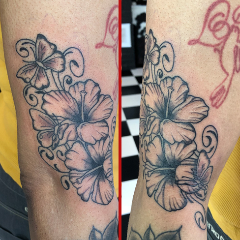 Tattoo, Best Tattoo, Colchester, Essex, Tattoo art, Tattoo Artist, Tattoos, Tattoo design, Top Tattoo, reds tattoo, anna kowacka, essex tattoo, colchester, tattoo ideas, linework, linework tattoo, outline, outline tattoo, flower, flower tattoo, lily, lilies, butterfly, butterfly tattoo