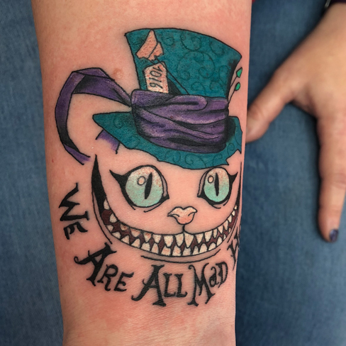 Tattoo, Best Tattoo, Colchester, Essex, Tattoo art, Tattoo Artist, Tattoos, Tattoo design, Top Tattoo, reds tattoo, anna kowacka, essex tattoo, colchester, tattoo ideas, colour, colour tattoo, cheshire cat, cheshire cat tattoo, alice in wonderland, mad hatter