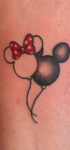 Tattoo, Best Tattoo, Colchester, Essex, Tattoo art, Tattoo Artist, Tattoos, Tattoo design, Top Tattoo, reds tattoo, anna kowacka, essex tattoo, colchester, tattoo ideas, linework, linework tattoo, outline, outline tattoo, mickey mouse, minnie mouse, Disney, disney tattoo, mickey and minnie tattoo, balloon tattoo