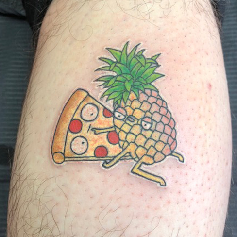 pizza pineapple tattoo reds colchester essex colour sonya trusty