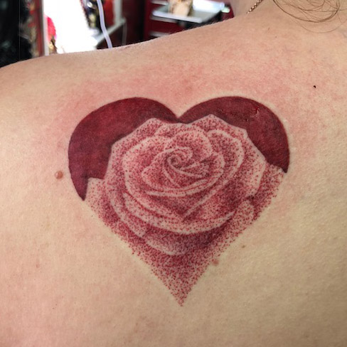 dotwork heart rose tattoo reds colchester essex colour sonya trusty