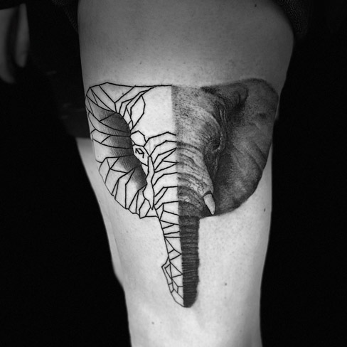 Tattoo, Best Tattoo, Colchester, Essex, Tattoo art, Tattoo Artist, Tattoos, Tattoo design, Top Tattoo, Black & grey Tattoo, reds tattoo, sonya trusty, essex tattoo, colchester, realism tattoo, tattoo ideas, elephant tattoo, elephant, realistic elephant, geometric, geometric elephant