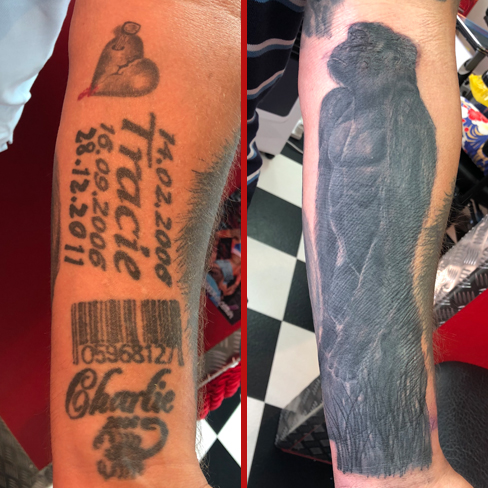 gorilla black grey realism cover up reds tattoo colchester essex sonya trusty