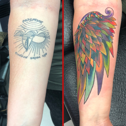 Tattoo, Best Tattoo, Colchester, Essex, Tattoo art, Tattoo Artist, Tattoos, Tattoo design, Top Tattoo, cover up Tattoo, reds tattoo, sonya trusty, essex tattoo, colchester, tattoo ideas, cover up, before and after, wing, wing tattoo, angel wing, colour, colourful, feathers, feather tattoo