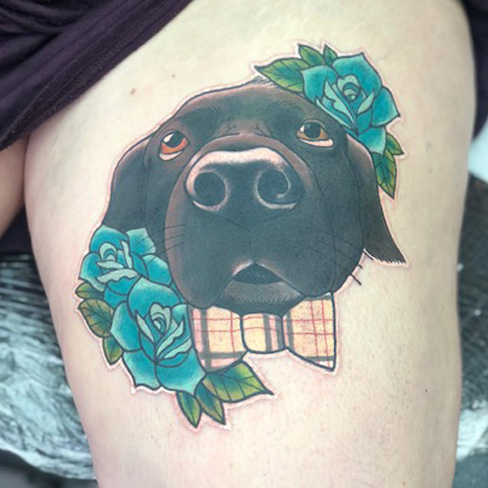 dog portrait new school cute girly tattoo reds colchester essex colour sonya trusty