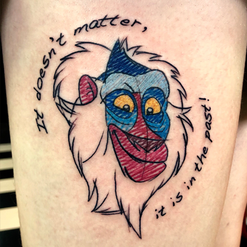 Tattoo, Best Tattoo, Colchester, Essex, Tattoo art, Tattoo Artist, Tattoos, Tattoo design, Top Tattoo, reds tattoo, anna kowacka, essex tattoo, colchester, tattoo ideas, colour, colour tattoo, lion king, lion king tattoo, rafiki tattoo, sketchy tattoo