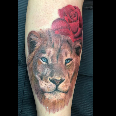 tattoo reds colchester essex colour sonya trusty lion rose realism
