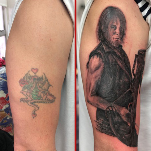 cover up tattoo reds colchester essex sonya trusty daryl dixon walking dead realism black and grey