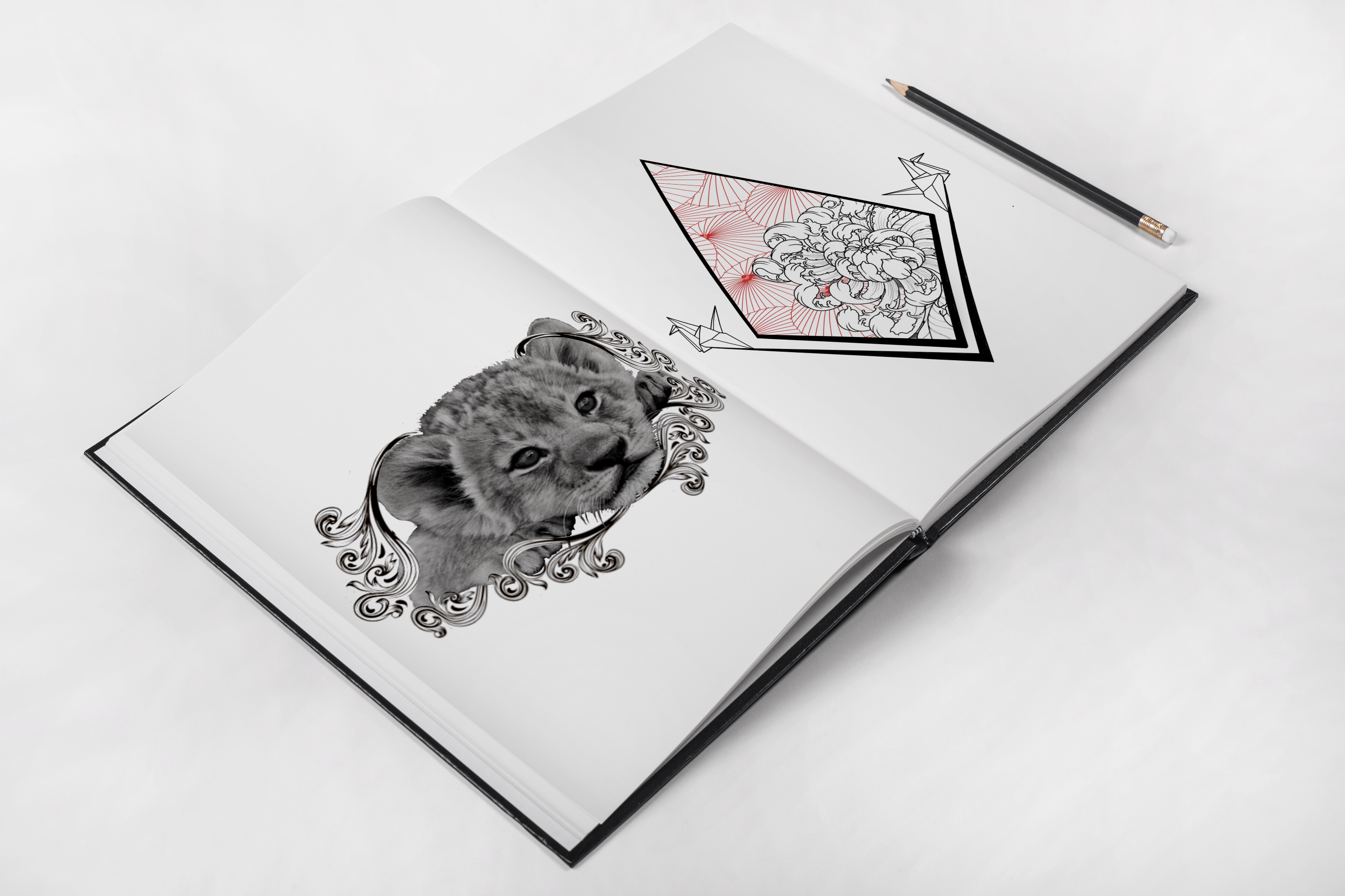 geometric japanese peony lion tiger filigree tattoo idea sketch tattoo colchester essex reds tattoo sonya trusty ideas