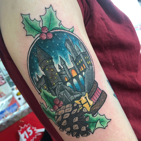 Tattoo, Best Tattoo, Colchester, Essex, Tattoo art, Tattoo Artist, Tattoos, Tattoo design, Top Tattoo, reds tattoo, anna kowacka, essex tattoo, colchester, tattoo ideas, colour, colour tattoo, harry potter, harry potter tattoo, snow globe, snow globe tattoo, hogwarts, hogwarts tattoo