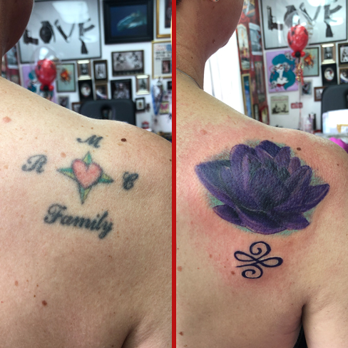 Tattoo, Best Tattoo, Colchester, Essex, Tattoo art, Tattoo Artist, Tattoos, Tattoo design, Top Tattoo, cover up Tattoo, reds tattoo, sonya trusty, essex tattoo, colchester, tattoo ideas, cover up, before and after, purple lotus flower, lotus, lotus flower, unalome, unalome tattoo