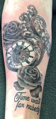 Tattoo, Best Tattoo, Colchester, Essex, Tattoo art, Tattoo Artist, Tattoos, Tattoo design, Top Tattoo, Black & grey Tattoo, reds tattoo, sonya trusty, essex tattoo, colchester, realism tattoo, tattoo ideas, pocket watch, watch, clock, filigree, pocket watch tattoo, roses, rose tattoo, flowers