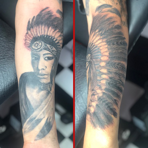 Tattoo, Best Tattoo, Colchester, Essex, Tattoo art, Tattoo Artist, Tattoos, Tattoo design, Top Tattoo, Black & grey Tattoo, reds tattoo, sonya trusty, essex tattoo, colchester, realism tattoo, tattoo ideas, native american, red indian, native american woman, woman, lady, portrait