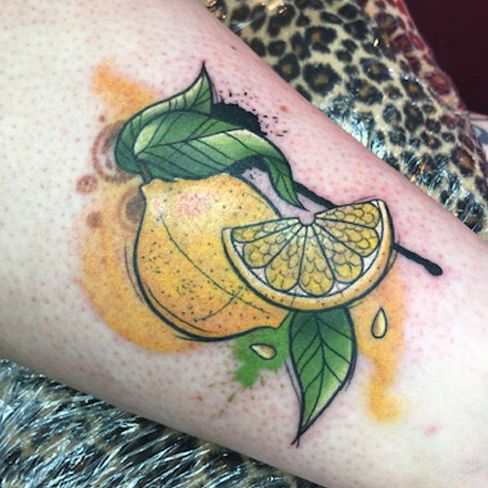 Tattoo, Best Tattoo, Colchester, Essex, Tattoo art, Tattoo Artist, Tattoos, Tattoo design, Top Tattoo, reds tattoo, anna kowacka, essex tattoo, colchester, tattoo ideas, watercolour, water colour, watercolour tattoo, lemon, lemon tattoo, fruit tattoo