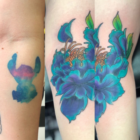 Tattoo, Best Tattoo, Colchester, Essex, Tattoo art, Tattoo Artist, Tattoos, Tattoo design, Top Tattoo, cover up Tattoo, reds tattoo, sonya trusty, essex tattoo, colchester, tattoo ideas, cover up, before and after, stitch cover up, flower, flower tattoo, blue flower