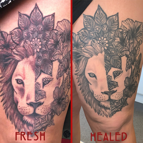 Tattoo, Best Tattoo, Colchester, Essex, Tattoo art, Tattoo Artist, Tattoos, Tattoo design, Top Tattoo, Black & grey Tattoo, reds tattoo, sonya trusty, essex tattoo, colchester, realism tattoo, lion, lion tattoo, mandala, mandala tattoo, floral tattoo, floral, thigh piece, thigh tattoo