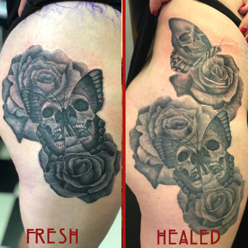 Tattoo, Best Tattoo, Colchester, Essex, Tattoo art, Tattoo Artist, Tattoos, Tattoo design, Top Tattoo, Black & grey Tattoo, reds tattoo, sonya trusty, essex tattoo, colchester, realism tattoo, thigh, thigh piece, skull, skull tattoo, butterfly, butterfly tattoo, rose, rose tattoo
