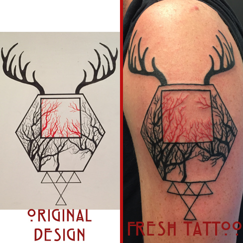 Tattoo, Best Tattoo, Colchester, Essex, Tattoo art, Tattoo Artist, Tattoos, Tattoo design, Top Tattoo, Colour Tattoo, reds tattoo, sonya trusty, essex tattoo, colchester, tattoo ideas, geometric, geometric tattoo, trees, tree tattoo, forest, branches, deer, antlers