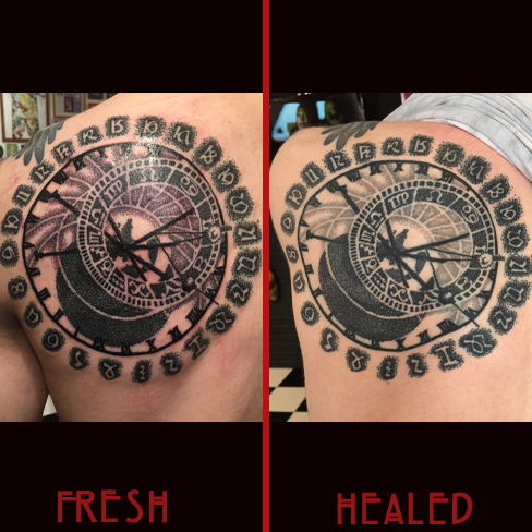Tattoo, Best Tattoo, Colchester, Essex, Tattoo art, Tattoo Artist, Tattoos, Tattoo design, Top Tattoo, Black & grey Tattoo, reds tattoo, sonya trusty, essex tattoo, colchester, realism tattoo, astronomical, clock, astronomical clock