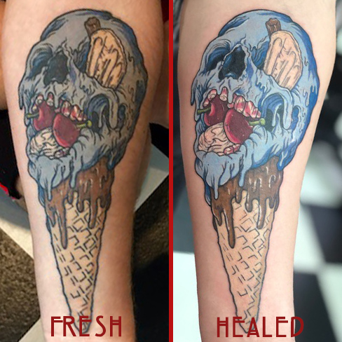 Tattoo, Best Tattoo, Colchester, Essex, Tattoo art, Tattoo Artist, Tattoos, Tattoo design, Top Tattoo, reds tattoo, anna kowacka, essex tattoo, colchester, tattoo ideas, colour, colour tattoo, ice cream, ice cream tattoo, skull, skull tattoo, ice cream skull, healed tattoo, fresh vs healed