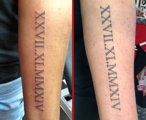 Tattoo, Best Tattoo, Colchester, Essex, Tattoo art, Tattoo Artist, Tattoos, Tattoo design, Top Tattoo, reds tattoo, anna kowacka, essex tattoo, colchester, tattoo ideas, script, writing, lettering, roman numerals, fresh tattoo, healed tattoo, fresh vs healed