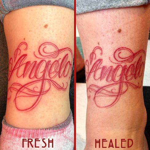 Tattoo, Best Tattoo, Colchester, Essex, Tattoo art, Tattoo Artist, Tattoos, Tattoo design, Top Tattoo, reds tattoo, anna kowacka, essex tattoo, colchester, tattoo ideas, script, writing, lettering, red ink, colour tattoo, colour, fresh tattoo, healed tattoo, fresh vs healed