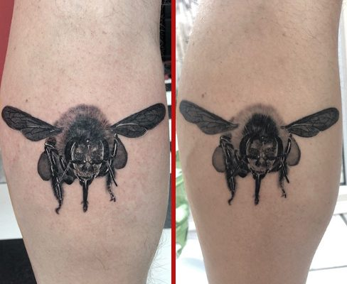 Tattoo, Best Tattoo, Colchester, Essex, Tattoo art, Tattoo Artist, Tattoos, Tattoo design, Top Tattoo, reds tattoo, anna kowacka, essex tattoo, colchester, tattoo ideas, fresh tattoo, healed tattoo, fresh vs healed, realism, realistic, bee tattoo, bumblebee tattoo, black and grey