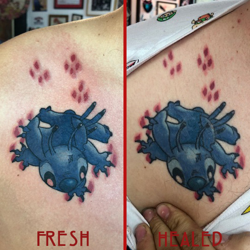 Tattoo, Best Tattoo, Colchester, Essex, Tattoo art, Tattoo Artist, Tattoos, Tattoo design, Top Tattoo, reds tattoo, anna kowacka, essex tattoo, colchester, tattoo ideas, colour, colour tattoo, stitch, stitch tattoo, disney, Disney tattoo, lilo and stitch, fresh tattoo, healed tattoo, fresh vs healed