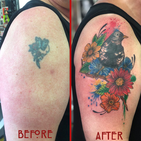 Tattoo, Best Tattoo, Colchester, Essex, Tattoo art, Tattoo Artist, Tattoos, Tattoo design, Top Tattoo, cover up Tattoo, reds tattoo, sonya trusty, essex tattoo, colchester, tattoo ideas, cover up, before and after, flower, flower tattoo, floral tattoo, bird, bird tattoo