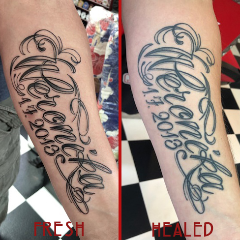 Tattoo, Best Tattoo, Colchester, Essex, Tattoo art, Tattoo Artist, Tattoos, Tattoo design, Top Tattoo, reds tattoo, anna kowacka, essex tattoo, colchester, tattoo ideas, script, writing, lettering, name tattoo, date tattoo, fresh tattoo, healed tattoo, fresh vs healed
