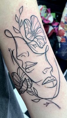 Tattoo, Best Tattoo, Colchester, Essex, Tattoo art, Tattoo Artist, Tattoos, Tattoo design, Top Tattoo, reds tattoo, anna kowacka, essex tattoo, colchester, tattoo ideas, linework, linework tattoo, outline, outline tattoo, face tattoo, faces, flowers, flower tattoo