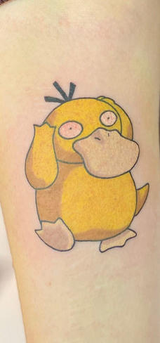 Tattoo, Best Tattoo, Colchester, Essex, Tattoo art, Tattoo Artist, Tattoos, Tattoo design, Top Tattoo, Colour Tattoo, reds tattoo, anna kowacka, essex tattoo, colchester, tattoo ideas, pokemon, pokemon tattoo, psyduck, psyduck tattoo, anime tattoo