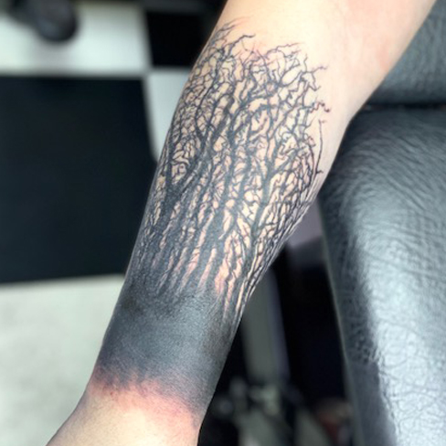 Tattoo, Best Tattoo, Colchester, Essex, Tattoo art, Tattoo Artist, Tattoos, Tattoo design, Top Tattoo, Black & grey Tattoo, reds tattoo, sonya trusty, essex tattoo, Colchester, silhouette trees, forest tattoo, tree tattoo